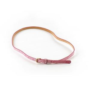 Ann Taylor Leather Belt Pink Glitter Accents M